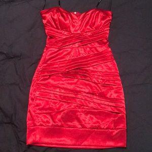 Red satin strapless minidress sweetheart neckline